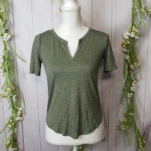 Madewell sz XXS Green Top Shirt Vneck short sleeve